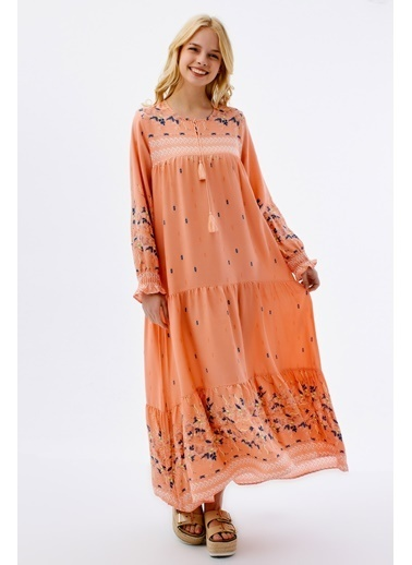 Pattaya Pattaya Kadın Çiçekli Uzun Elbise P21S110-5712 Somon